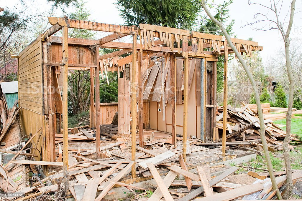 demolition of the house royalty-free stock photo