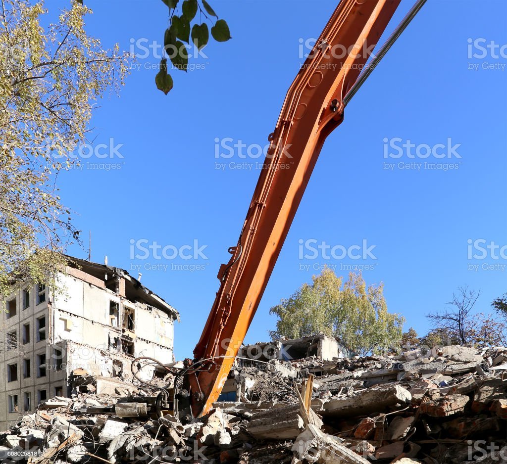 demolition old house. Moscow, Russia stock photo