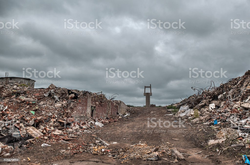 Demolition road stock photo