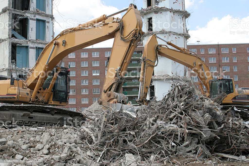 Demolition with cranes and trash royalty-free stock photo