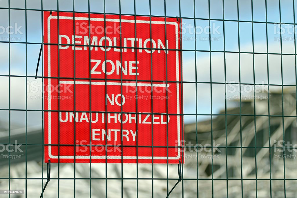 Demolition Zone, No Unauthorized Entry, Construction Site Warning Sign. stock photo