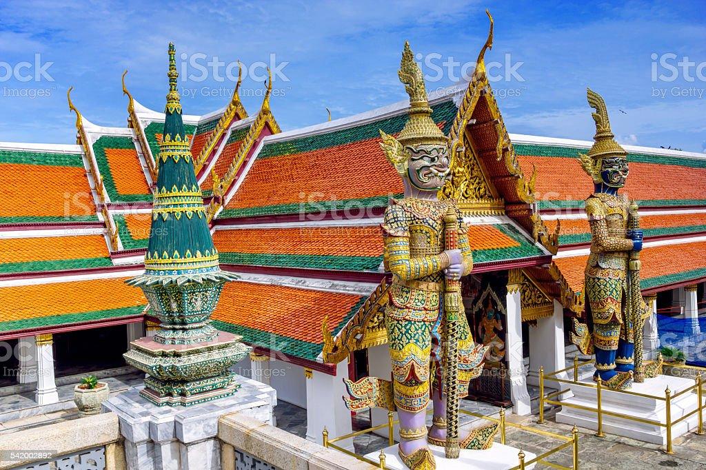 Demon Guardian at Wat Phra Kaew,  Bangkok, Thailand stock photo
