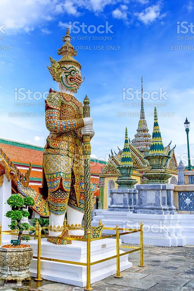 Demon Guardian in Wat Phra Kaew Grand Palace Bangkok stock photo