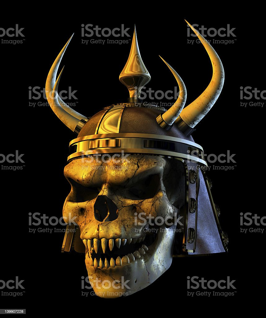 Demon Warmonger Skull - with clipping path stock photo