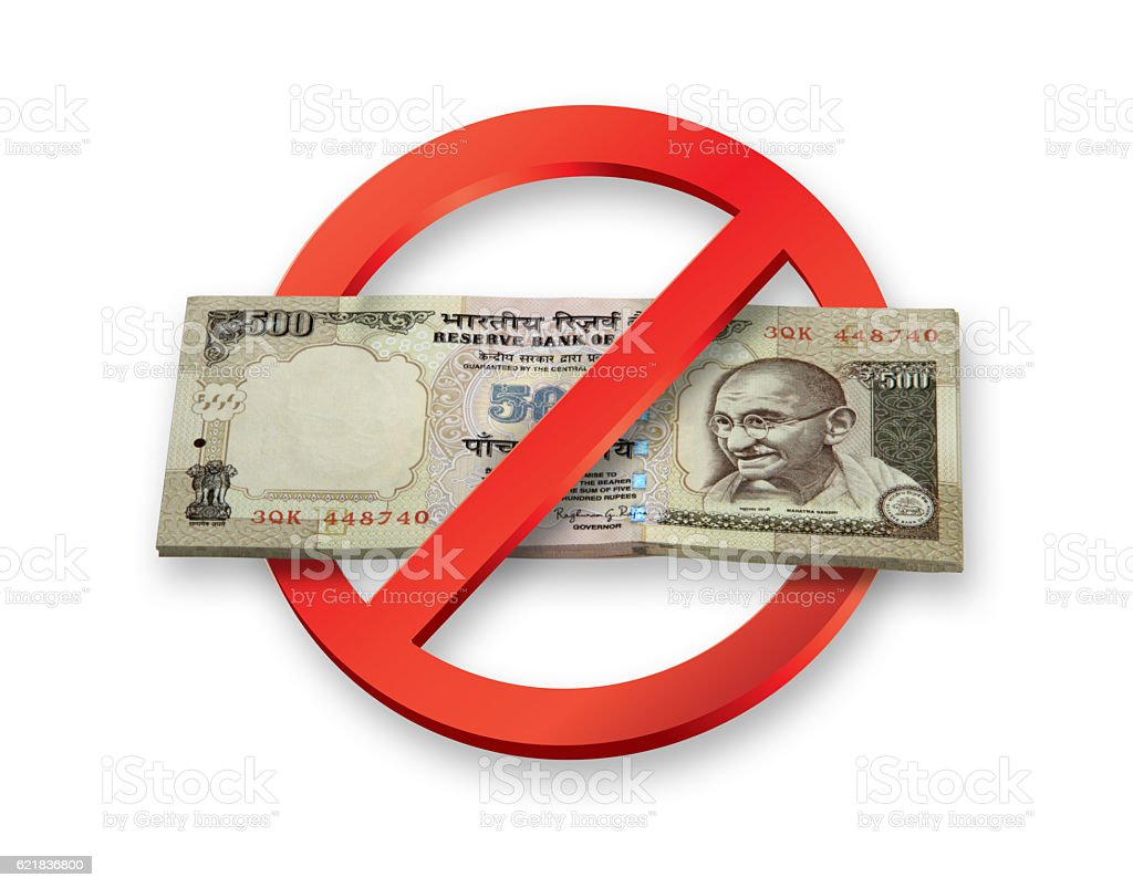 Demonetization of Indian Rupees 500 Currency Notes becomes invalid stock photo