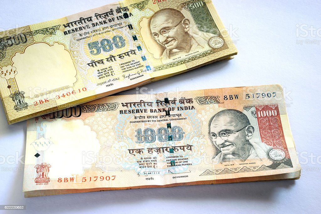 Demonetized Indian Currency of Rs.1000/- and Rs.500/- w.e.f. 8.11.2016 stock photo