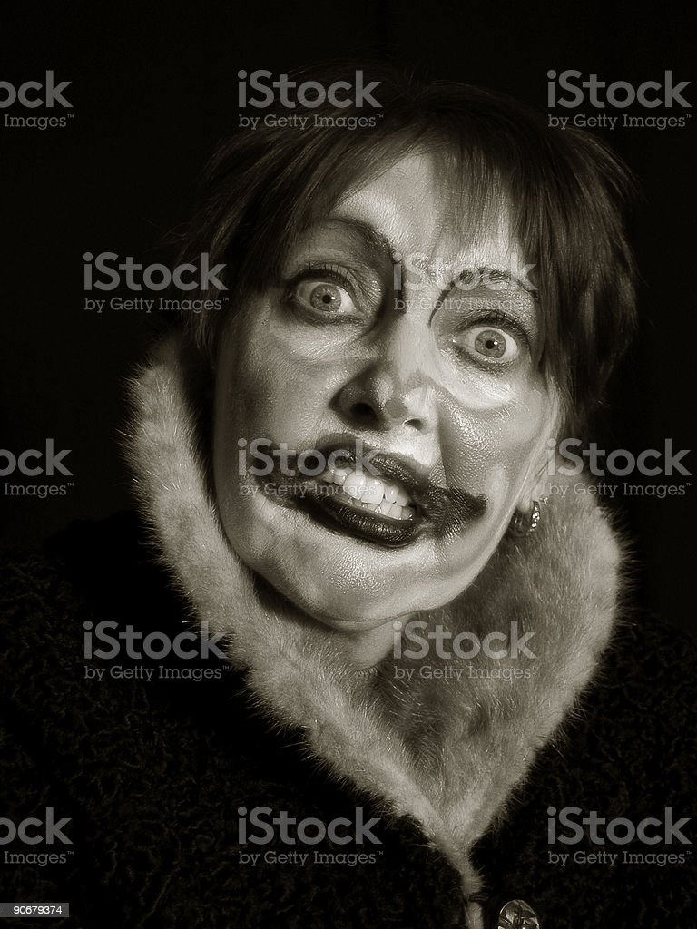 Demoniac Female Clown stock photo