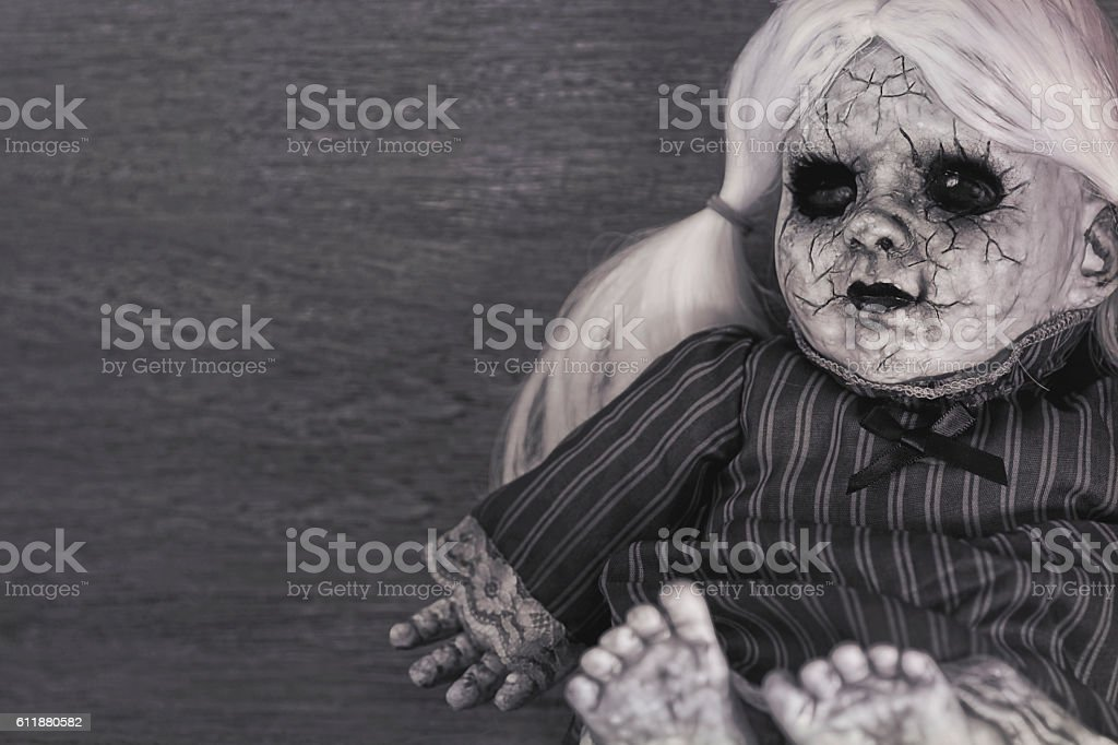 Demoniac zombie doll, evil spirit, halloween stock photo