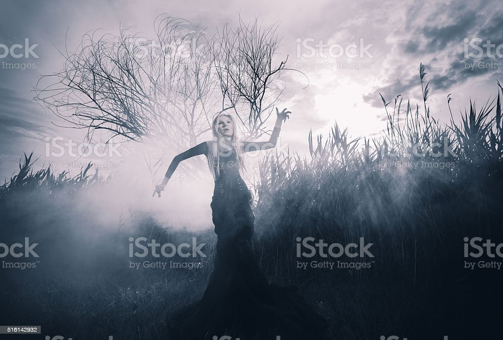 Demonic woman in the fog stock photo