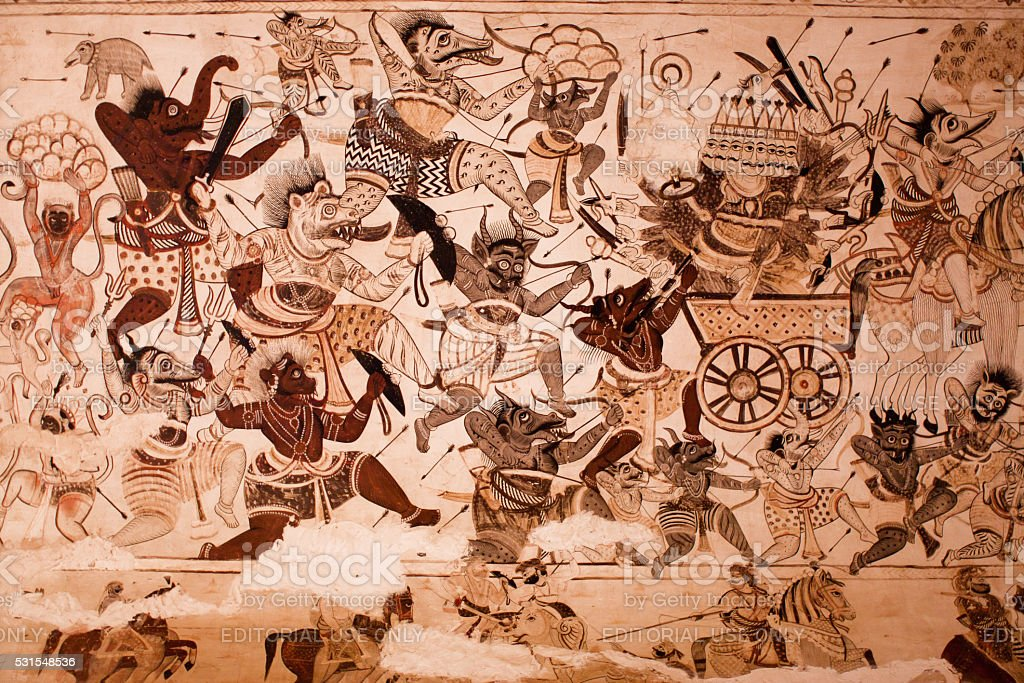 Demons and devils are fighting with gods on the mural stock photo