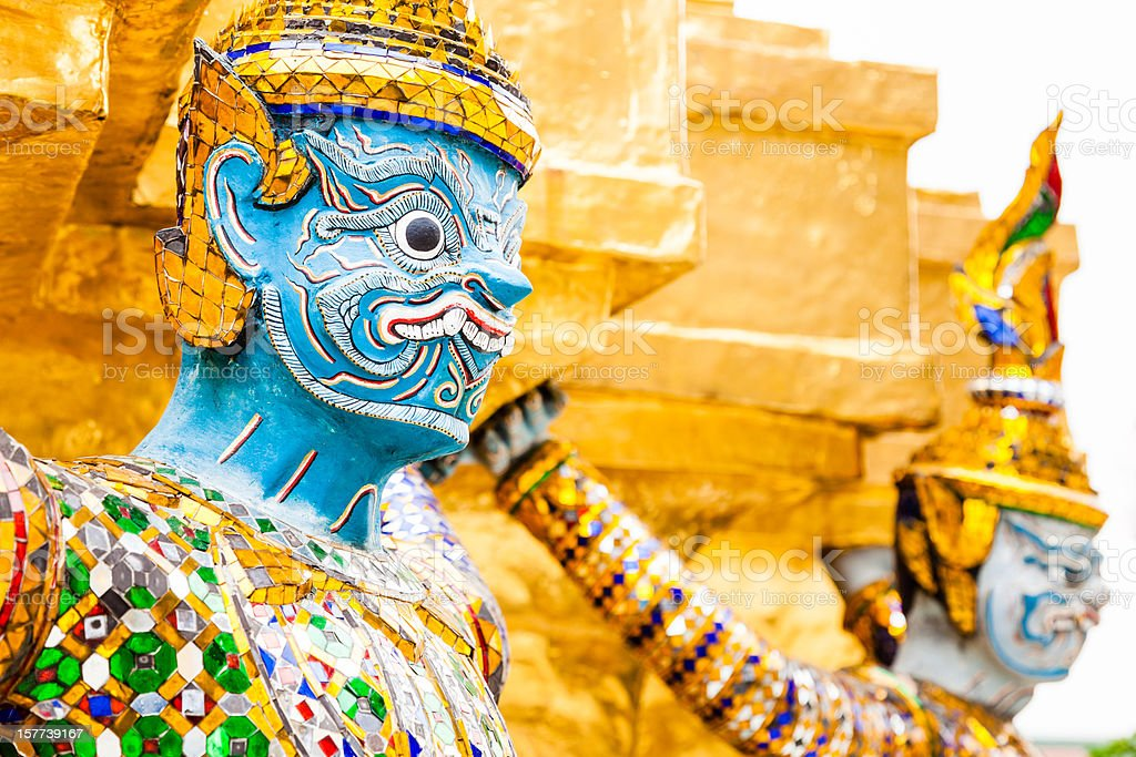 Demons guards, Grand Palace, Bangkok royalty-free stock photo