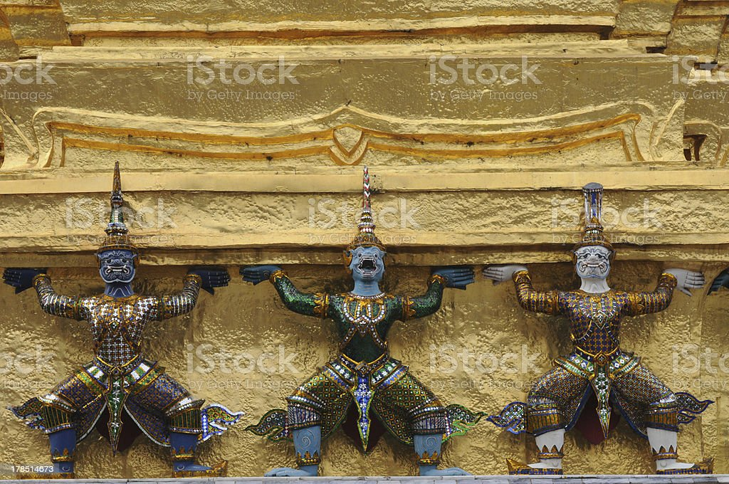 Demons of the Grand Palace in Bangkok royalty-free stock photo