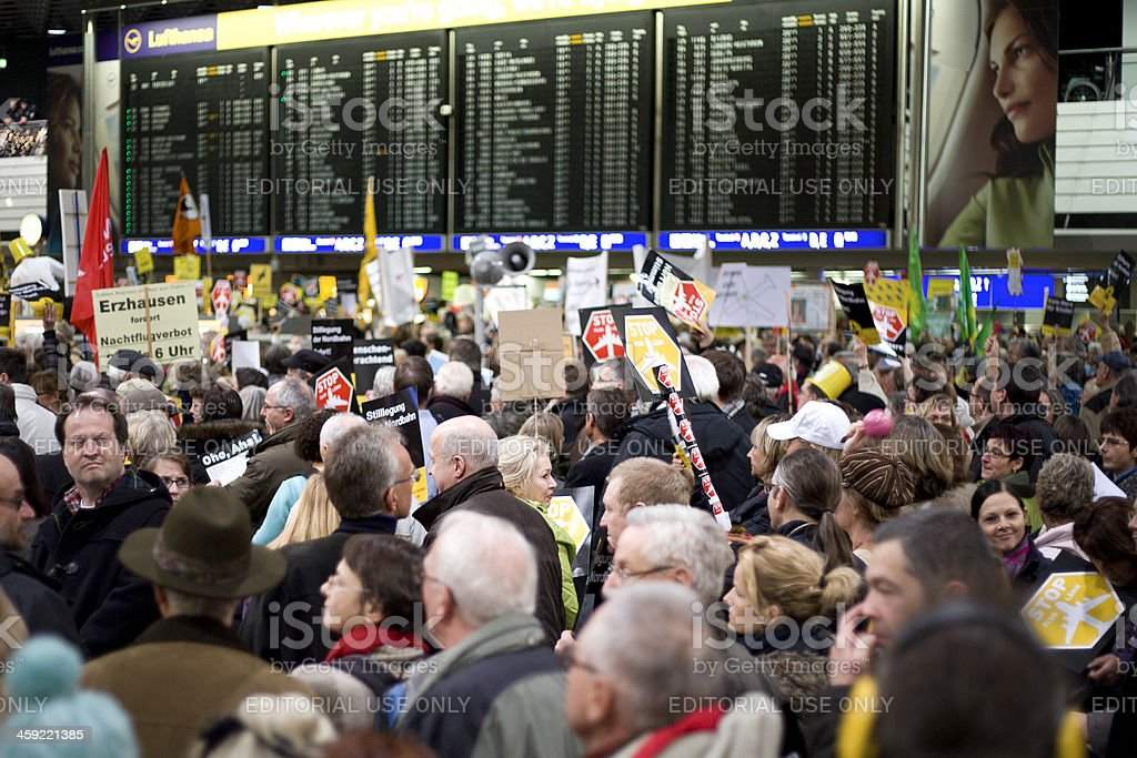 Demonstration against aircraft noise at Frankfurt Airport (Montagsdemo) royalty-free stock photo