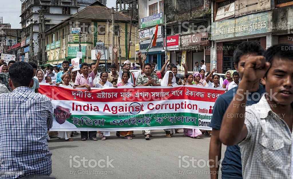 Demonstration against corruption, Jorhat, Assam, India. royalty-free stock photo