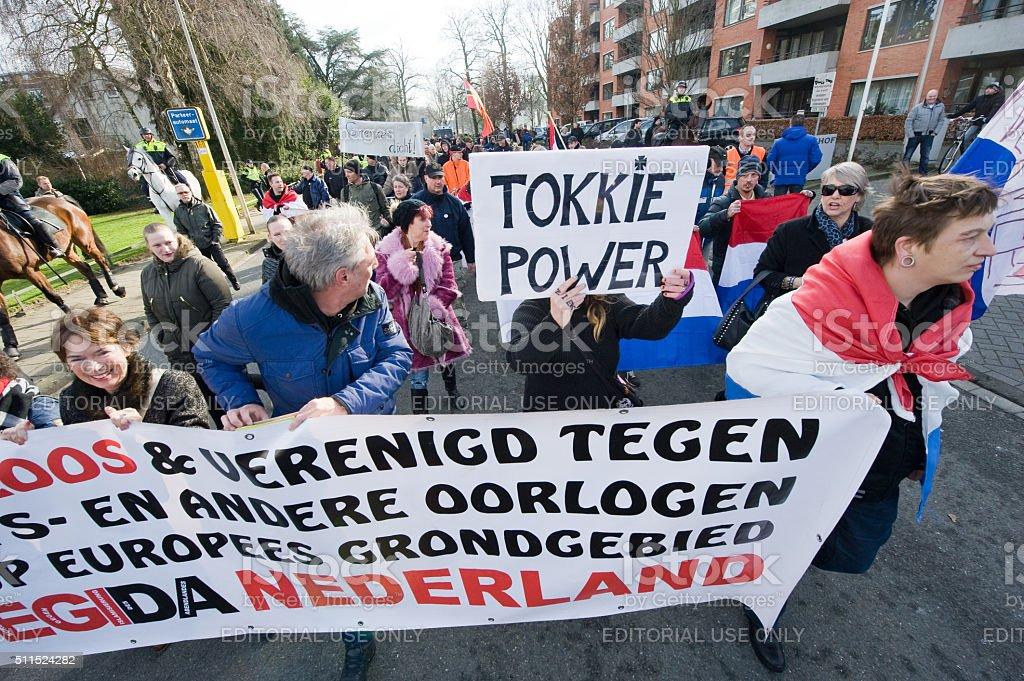 Demonstration against refugees stock photo