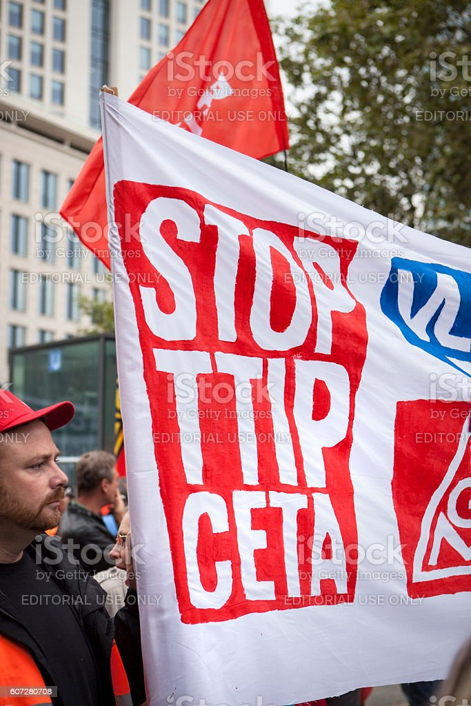 Demonstration against TTIP and CETA in Frankfurt, Germany stock photo