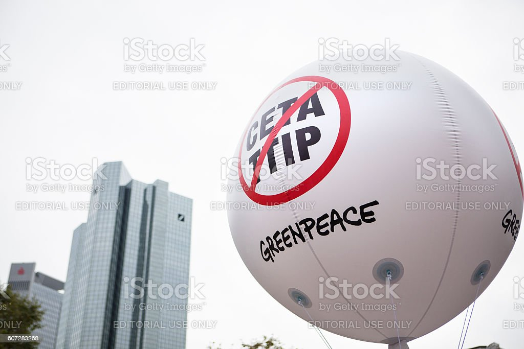 Demonstration against TTIP and CETA in Frankfurt, Germany stock photo