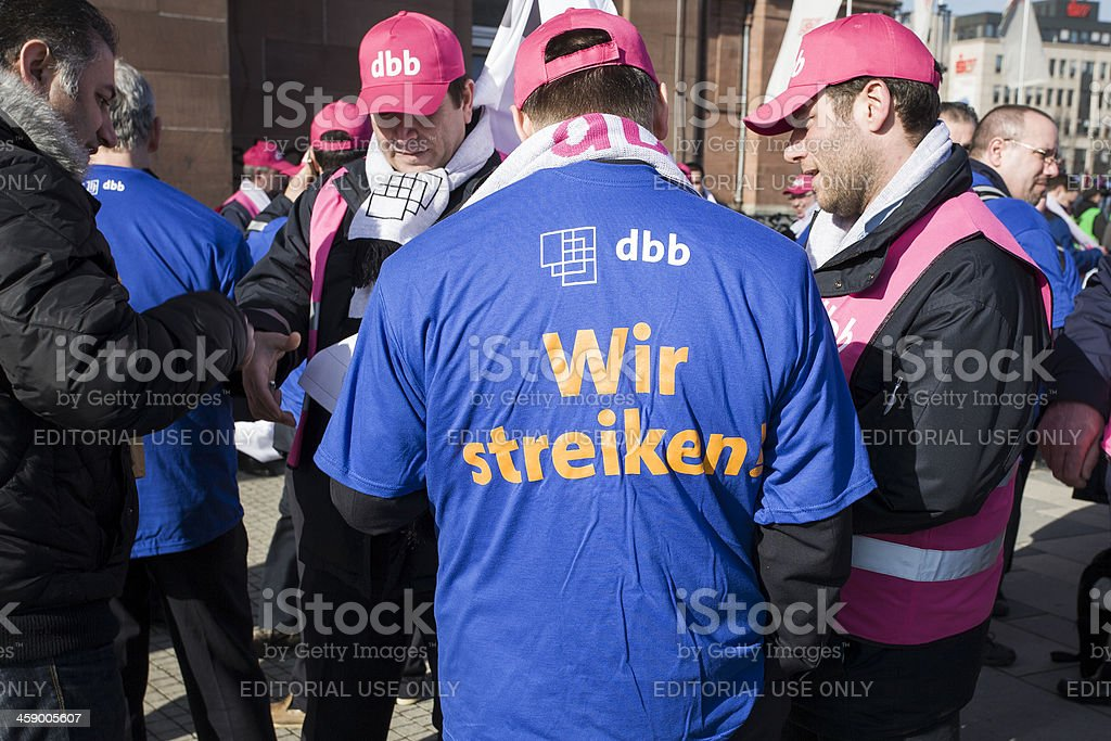 Demonstration and union strike action in german public services stock photo