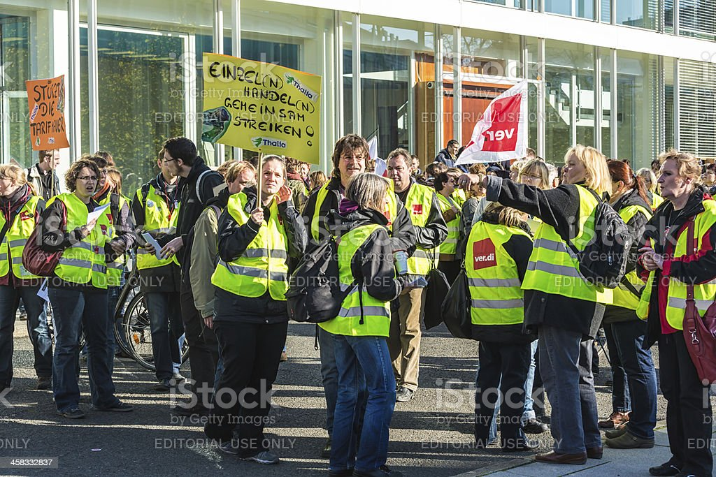 Demonstration and union strike action stock photo