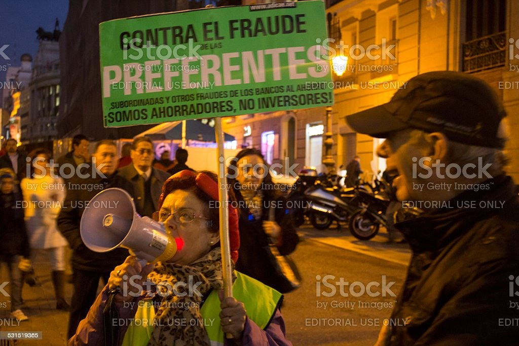 Demonstration by protesters who have lost their savings stock photo