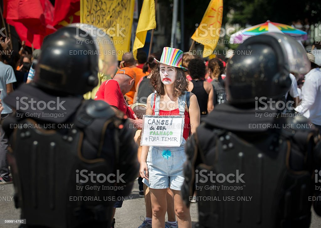 Demonstration clown - President Temer Out stock photo