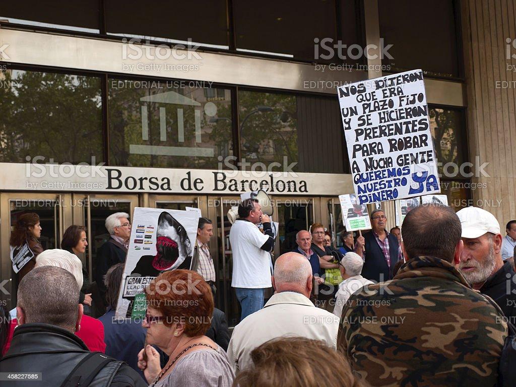 demonstration in Barcelona, Spain stock photo