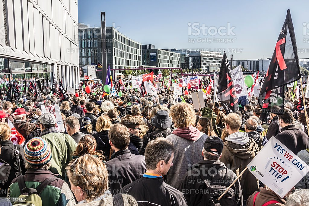 Demonstration in Berlin stock photo