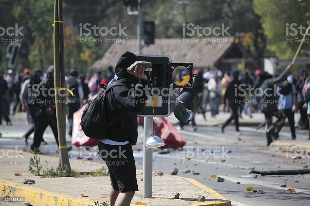 Demonstration in Chile stock photo