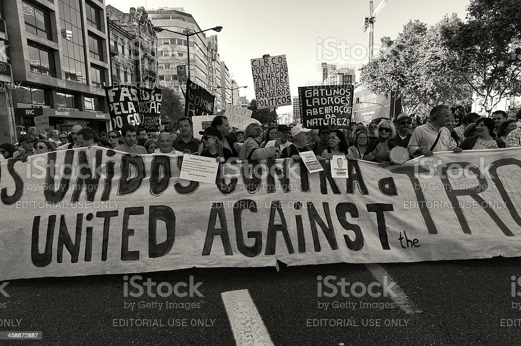 Demonstration in Lisbon royalty-free stock photo