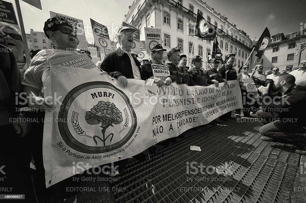 Demonstration in Lisbon stock photo