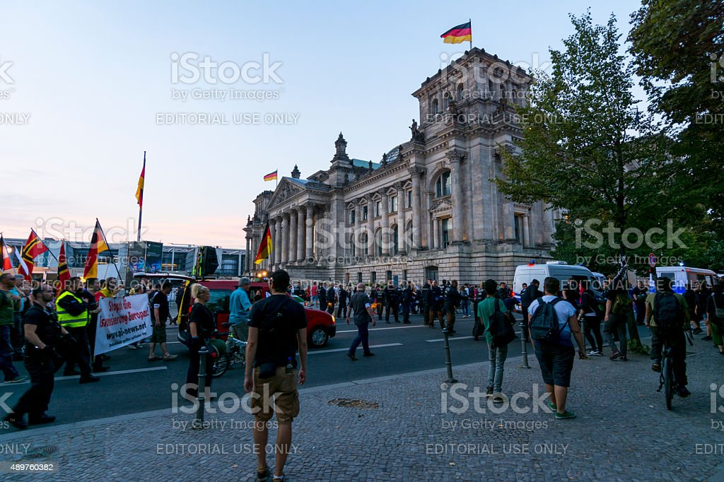 demonstration in reference to refugees in Berlin stock photo