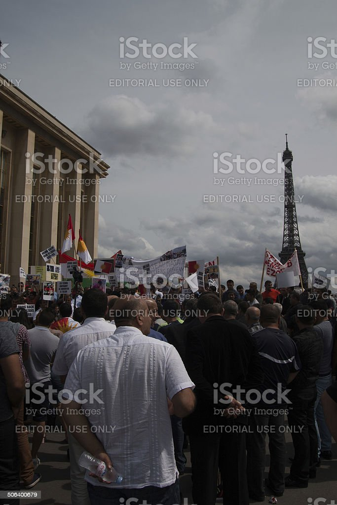 Demonstration in support of Yezidis of Iraq in Paris stock photo