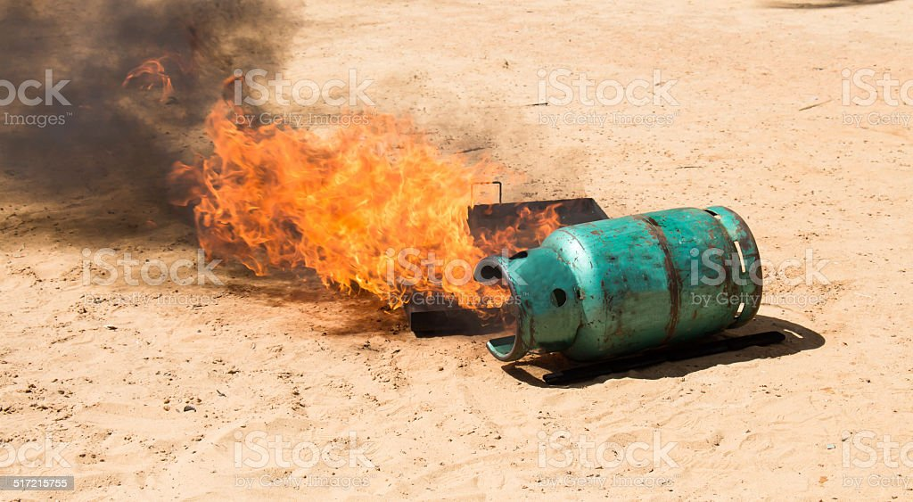 Demonstration of fire When inverted gas tank stock photo