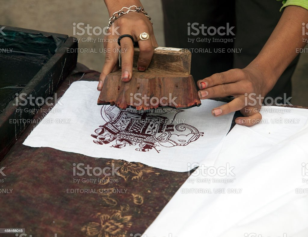 Demonstration of Indian Woodblock Printing stock photo