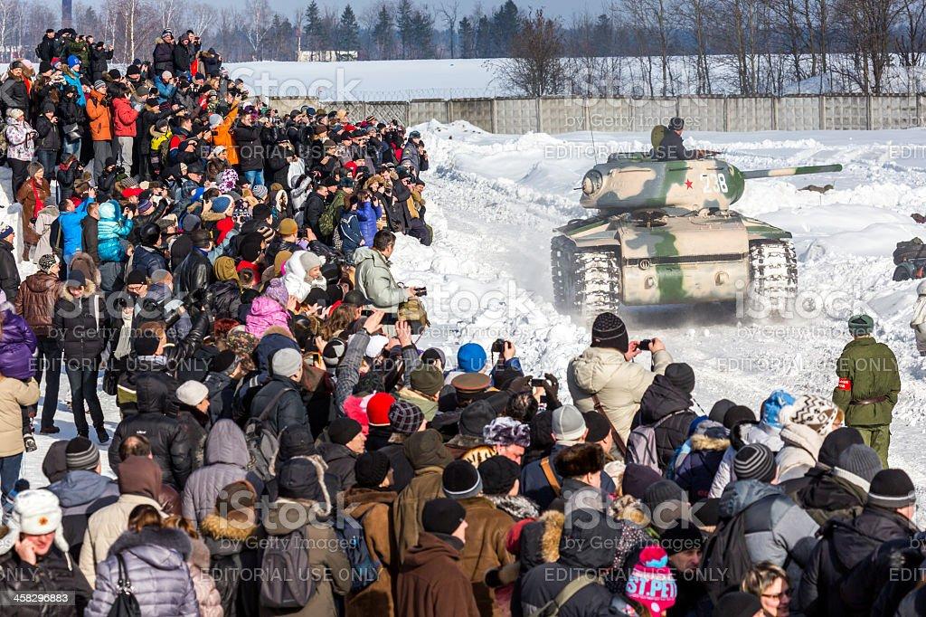 Demonstration of old tank. World War II battle reconstruction royalty-free stock photo