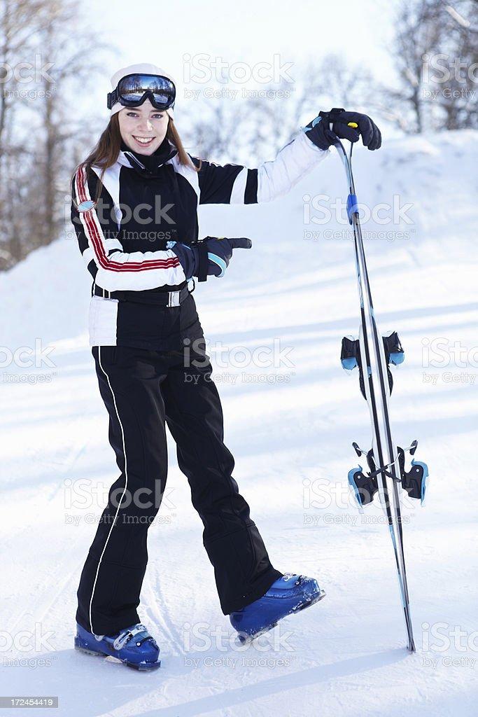 Demonstration of skiing equipment. royalty-free stock photo