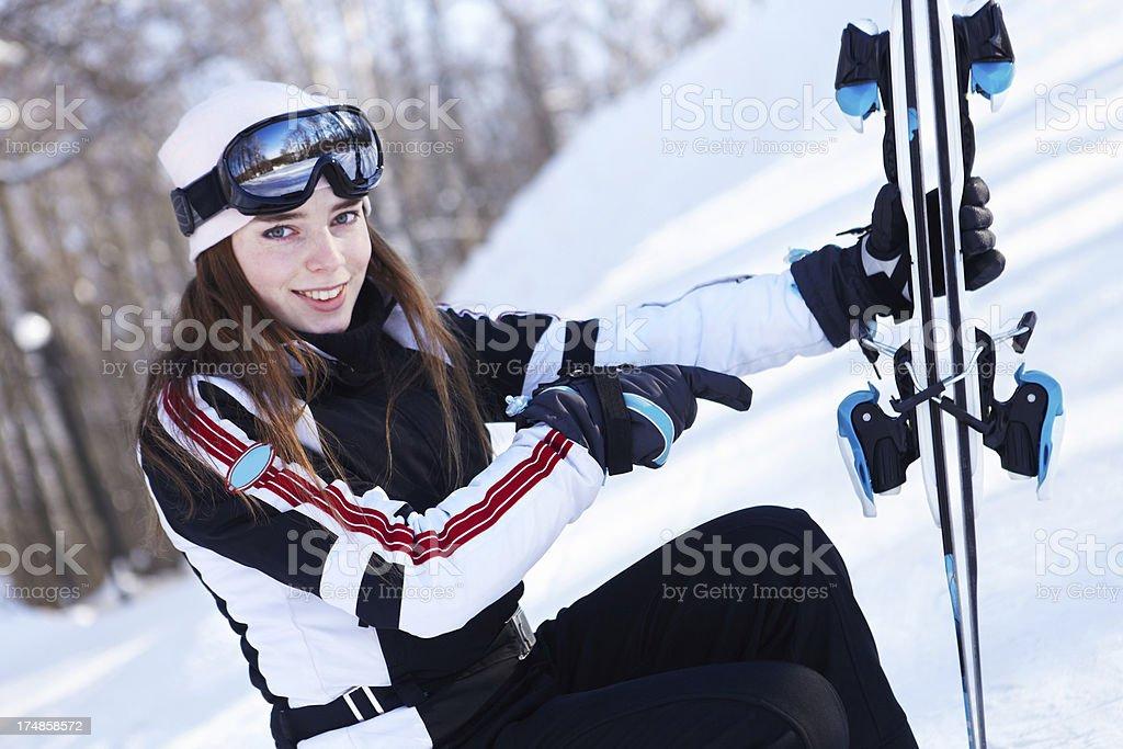 Demonstration of skiing equipment.