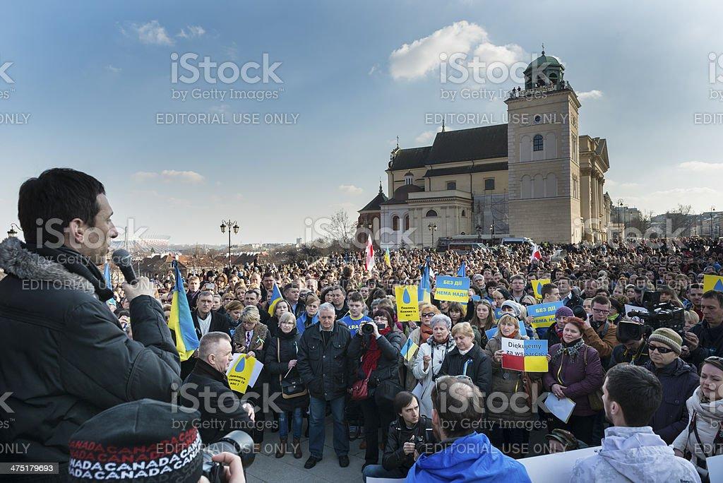Demonstration of support for Ukraine stock photo