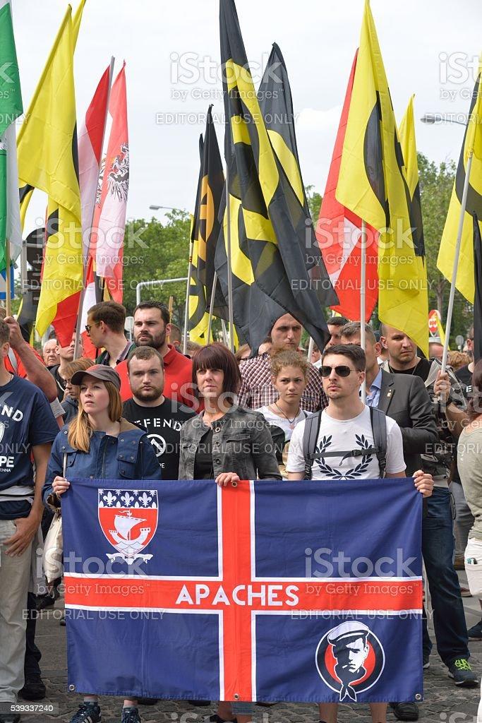 Demonstration of the Austrian Identitarian Movement stock photo