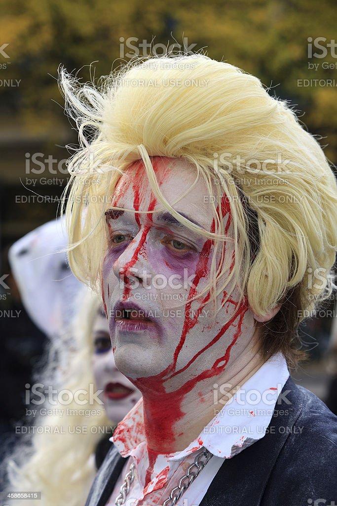 Demonstrator in zombie costume, Geert Wilders stock photo