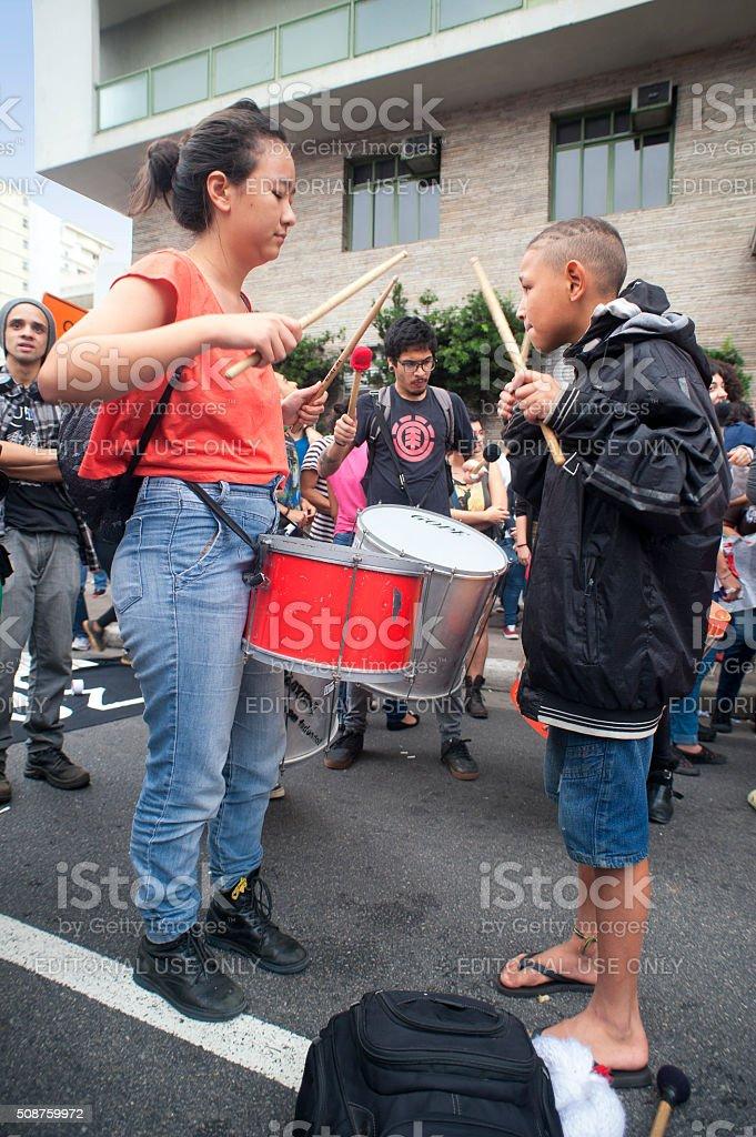 Demonstrators and Drum stock photo
