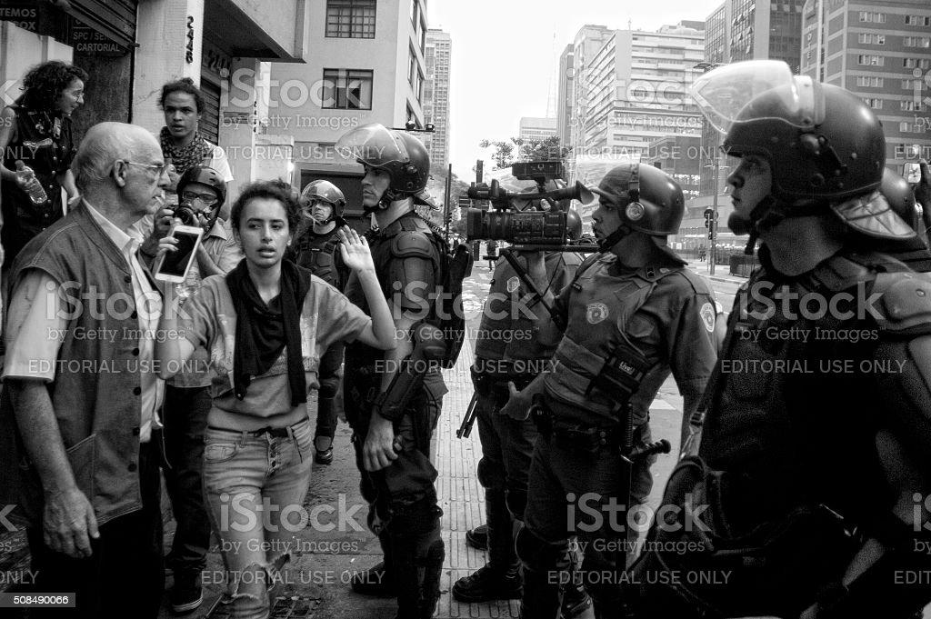 Demonstrators and Police stock photo