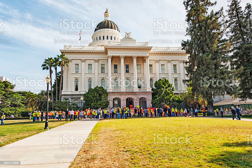 Demonstrators at the California State Capitol stock photo