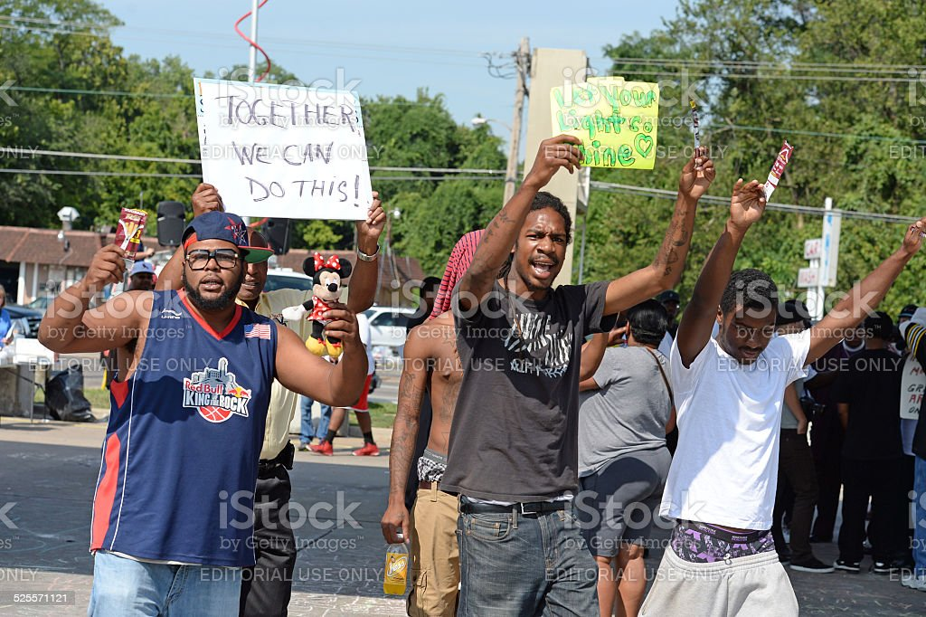 Demonstrators in Ferguson, MO stock photo