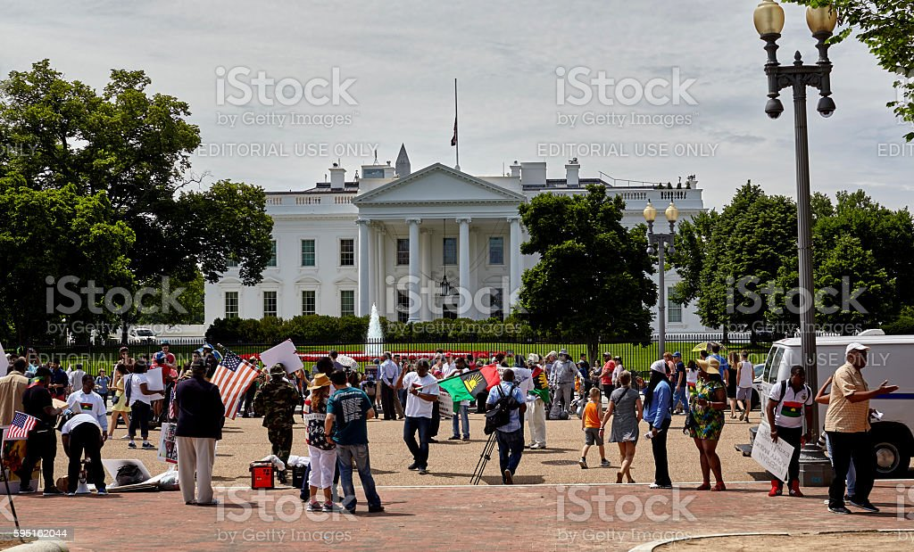 Demonstrators in Front of the White House stock photo