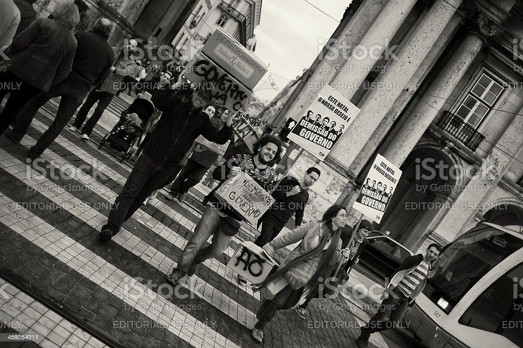 Demonstrators in Lisbon stock photo