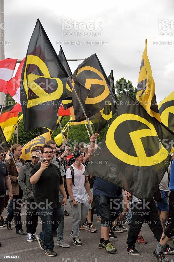 Demonstrators of the identitarian movement stock photo
