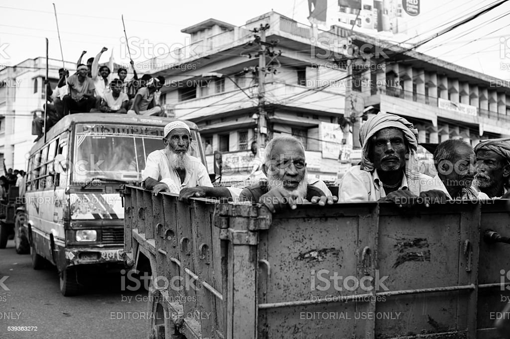 Demonstrators proceeding to Nepal-Indian border stock photo