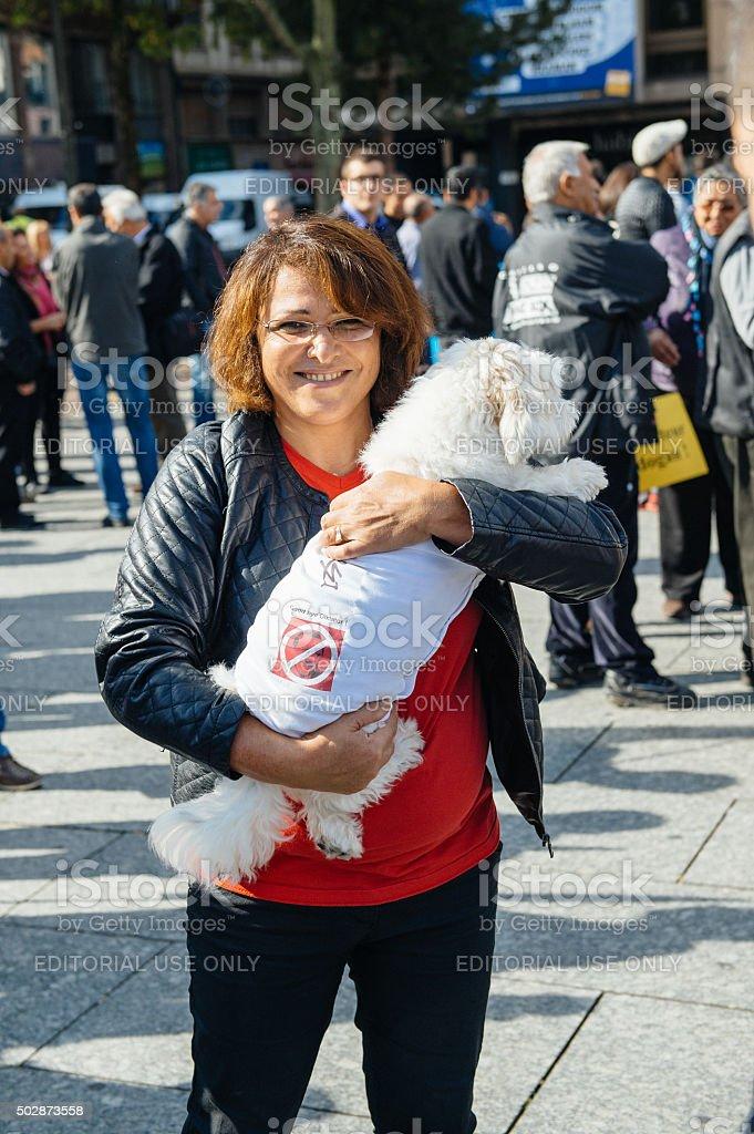 Demonstrators protesting against Turkish President Erdogan policy stock photo