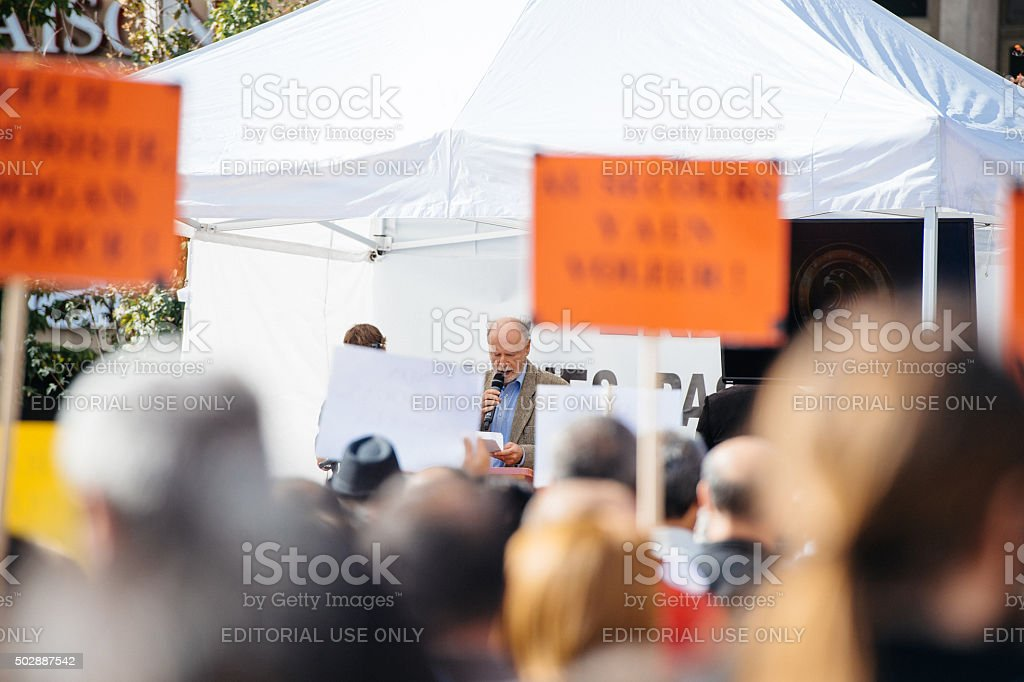 Demonstrators protesting against Turkish President Erdogan policy stock photo